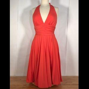 Cache Tangerine Pleated Halter Dress Bubble Hem